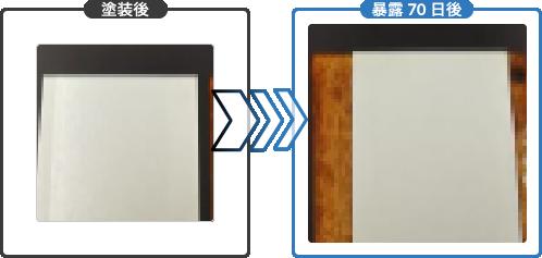 塗装後→暴露70日後